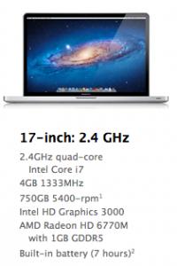 MacBook Pro 17 konfiguracia