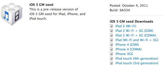 iOS 5 golden master